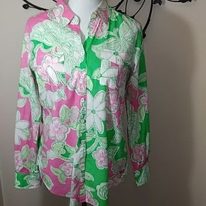 Lilly Pulitzer Prep Green Hit The Spot Blouse Med.